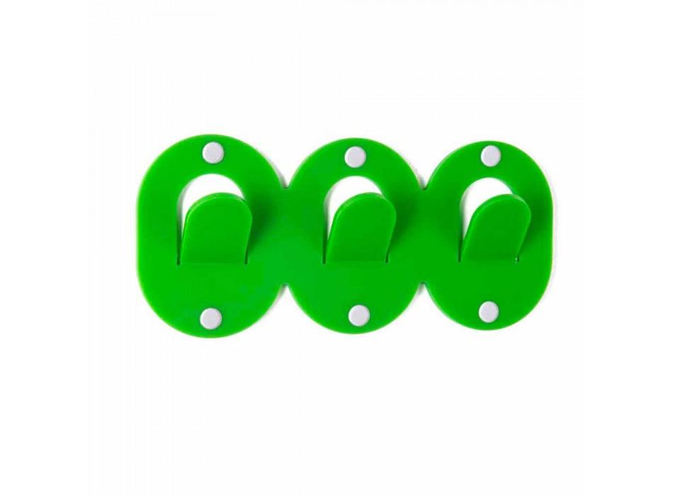 2 Appendiabiti da Parete Triplo in Plexiglass Colorato Design a Clip - Freddie