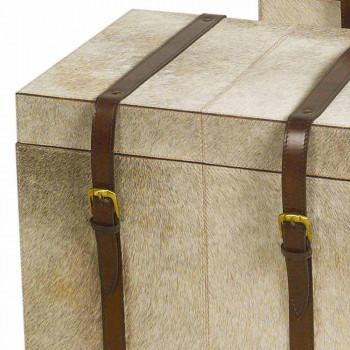 2 bauli di design in cavallino grigio Ritini, grande e piccolo