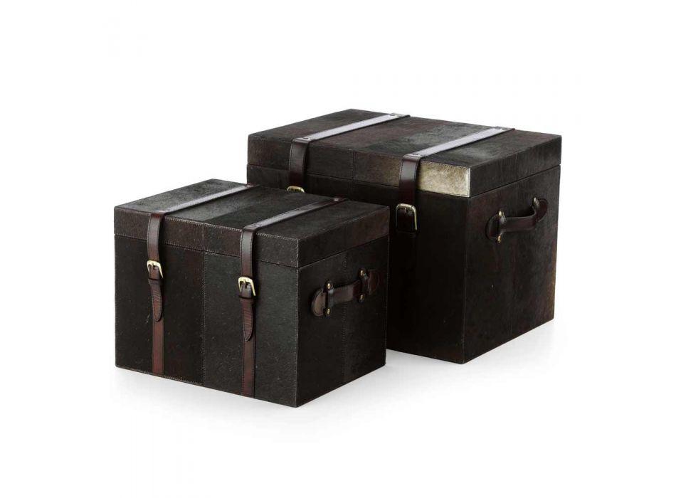 2 bauli di design in cavallino marrone scuro Ceskini, grande e piccolo