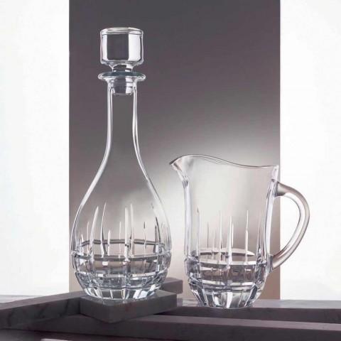 2 Bottiglie con Tappo per Vino Design Rotondo in Cristallo Decorato - Fiucco