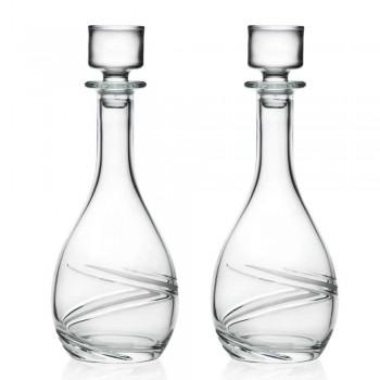2 Bottiglie da Vino e Tappo di Eco Cristallo Decorato a Mano di Lusso - Ciclone