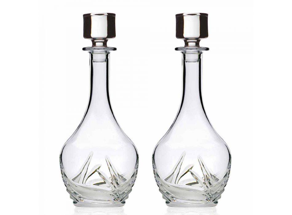 2 Bottiglie da Vino in Eco Cristallo con Tappo Design Rotondo e Decori - Avvento