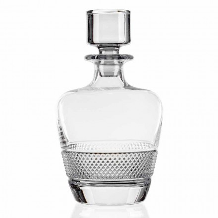 2 Bottiglie da Whisky Decorate in Cristallo, Made in Italy Linea Lusso - Milito