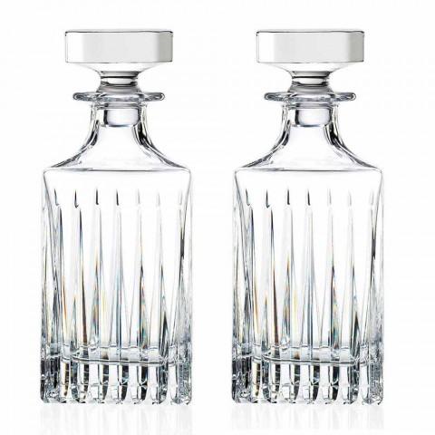 2 Bottiglie da Whisky di Cristallo con Molatura Manuale Made in Italy - Voglia