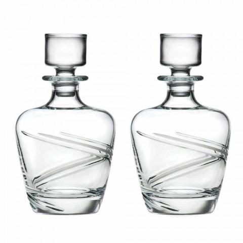 2 Bottiglie da Whisky in Cristallo Ecologico Italiano Artigianale - Ciclone