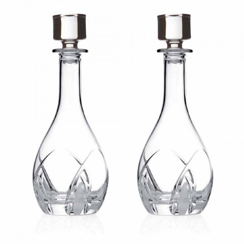 2 Bottiglie per Vino con Tappo dal Design Rotondo in Eco Cristallo - Montecristo