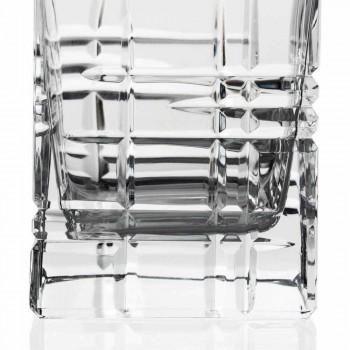 2 Bottiglie per Whisky con Tappo Design Quadrato Decorato in Cristallo - Aritmia