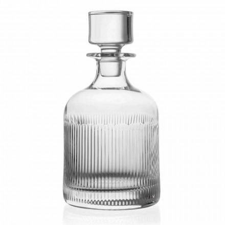 2 Bottiglie per Whisky in Cristallo di Design Vintage, Linea Lusso - Tattile