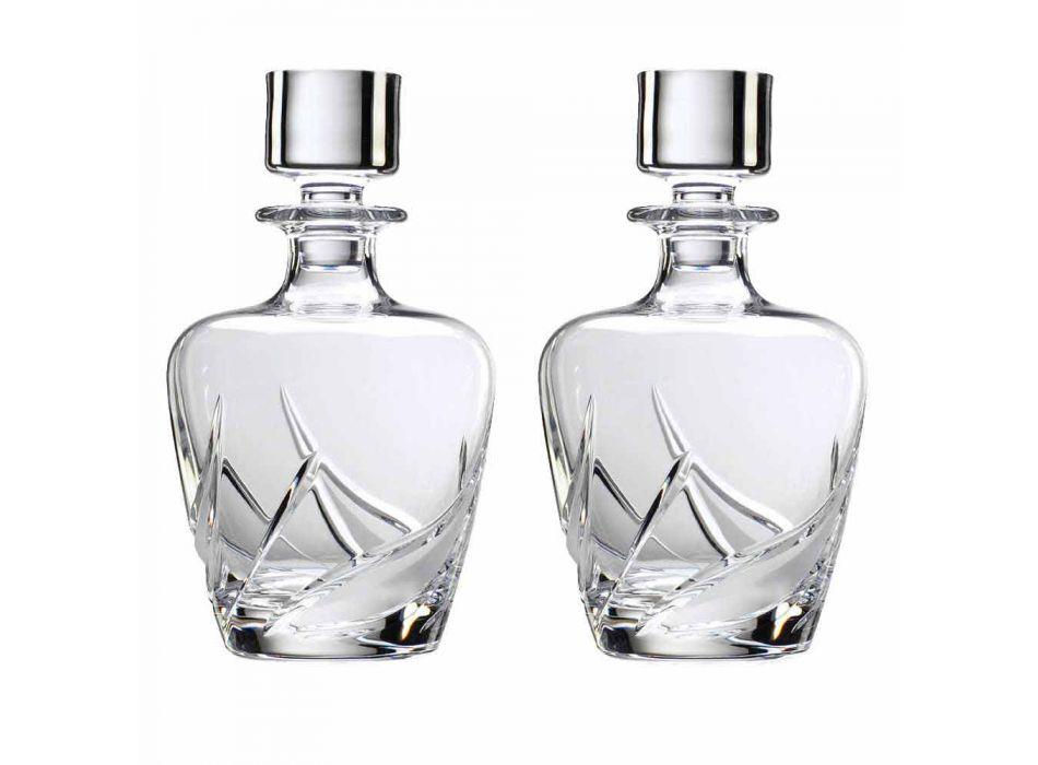 2 Bottiglie per Whisky in Cristallo con Tappo Design di Lusso Decorato - Avvento