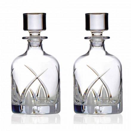 2 Bottiglie Whisky con Tappo Design Cilindrico in Eco Cristallo - Montecristo
