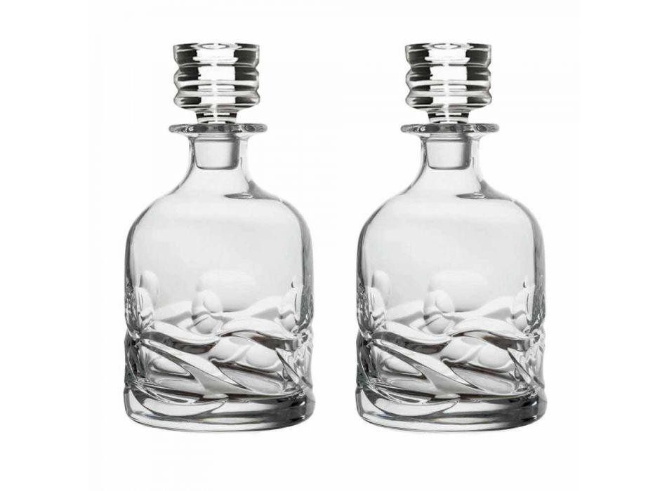 2 Bottiglie Whisky in Cristallo Eco Decorato e Tappo Design di Lusso - Titanio
