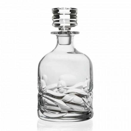 2 Bottiglie Whisky Design in Cristallo Decorato con Tappo, Linea Lusso - Titanio