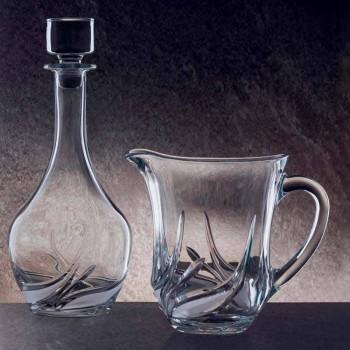 2 Brocche Acqua in Cristallo Ecologico con Decori Lusso Made in Italy - Avvento