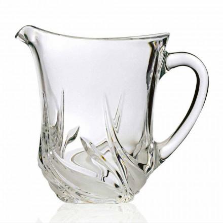 2 Brocche Acqua in Cristallo Ecologico con Decori, Design Linea Lusso - Avvento