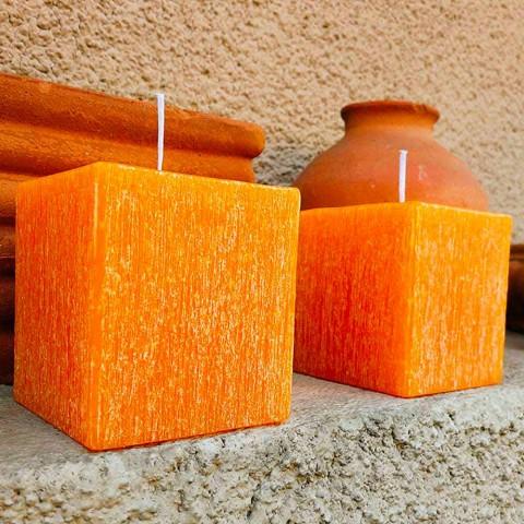 2 Candele Squadrate di Diverse Dimensioni in Cera Made in Italy - Adelle