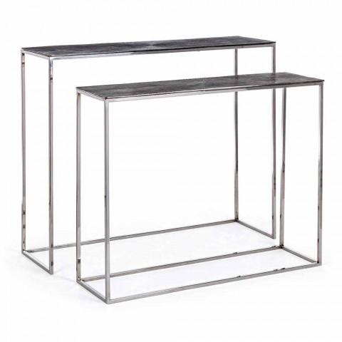 2 Consolle in Acciaio e Alluminio Placcato Design Moderno Homemotion - Narnia