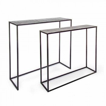 2 Consolle in Acciaio Stile Industriale Design Moderno Homemotion - Sesamo