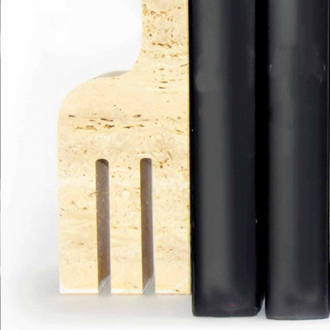 2 Fermalibri in Marmo Travertino a Forma di Giraffa Made in Italy - Morra