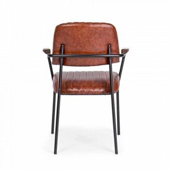 2 Sedie con Braccioli in Simillpelle Effetto Vintage Homemotion - Clare