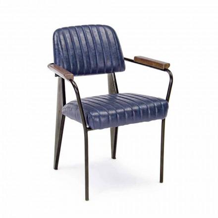 2 Sedie con Braccioli in Similpelle Effetto Vintage Homemotion - Clare