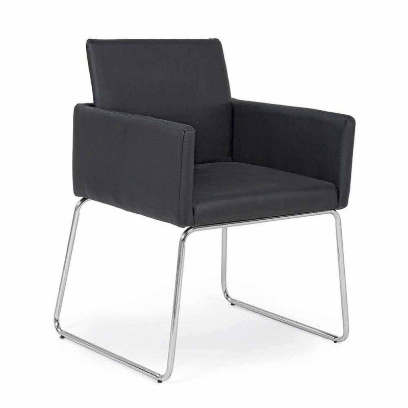 2 Sedie con Braccioli Rivestite in Similpelle Design Moderno Homemotion - Farra