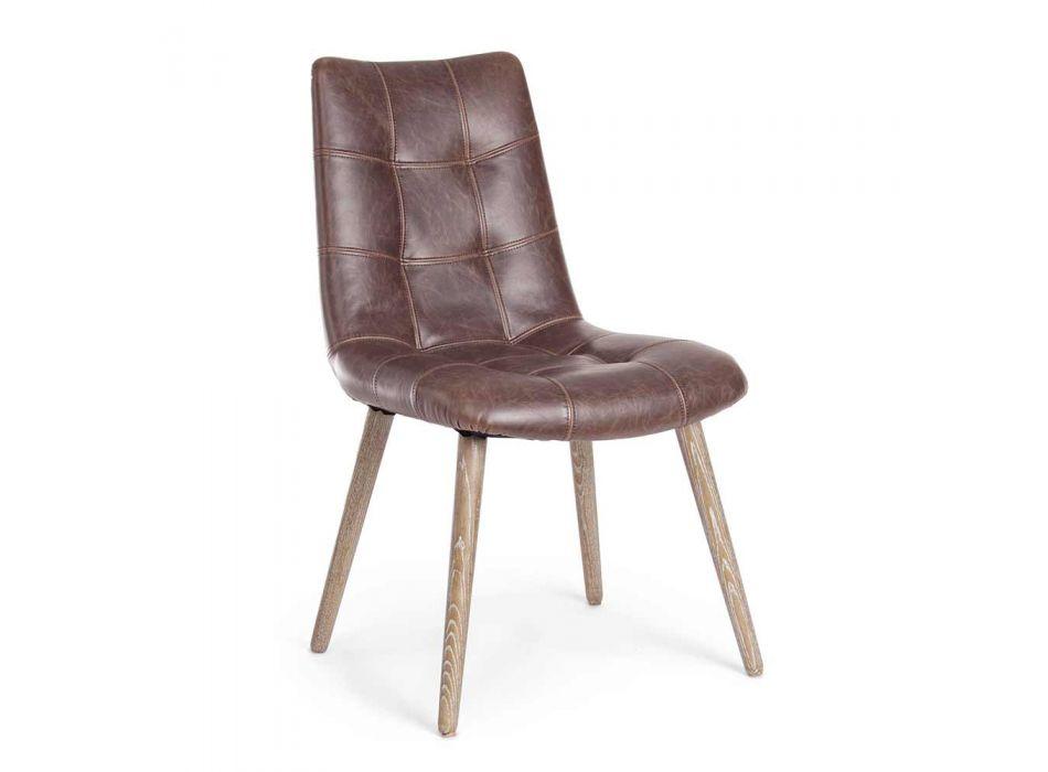 2 Sedie Moderne in Stile Industriale Rivestite in Similpelle Homemotion - Riella