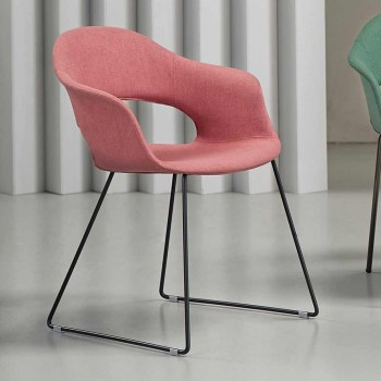 2 Sedie Moderne in Tessuto con Base a Slitta Made in Italy - Scab Design Lady B