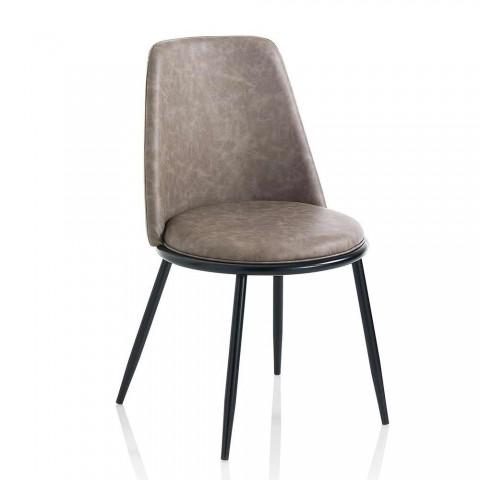2 Sedie Sala da Pranzo Moderne in Similpelle e Metallo Nero Opaco - Frizzi