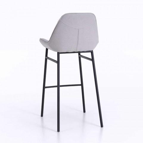 2 Sgabelli Moderni in Metallo con Seduta in Microfibra o Similpelle - Bellino