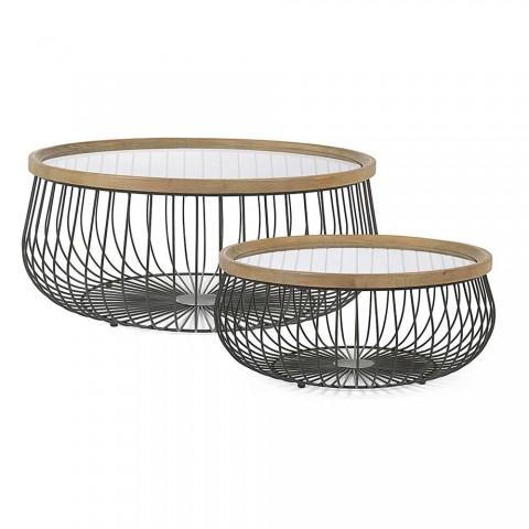 2 Tavolini da Salotto con Piano Rotondo in Vetro e Legno Homemotion - Randolo