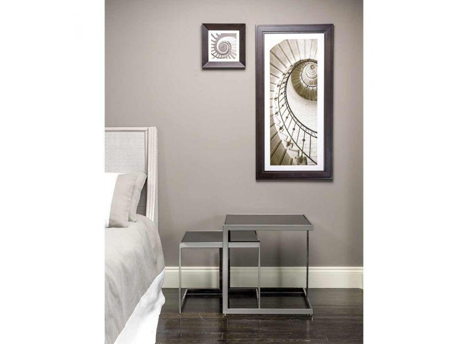 2 tavolini design moderno in acciaio con piano in vetro Bubbi