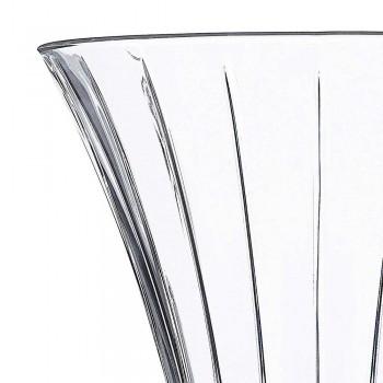 2 Vasi di Decoro Design in Eco Cristallo Trasparente Decorato Lusso - Senzatempo
