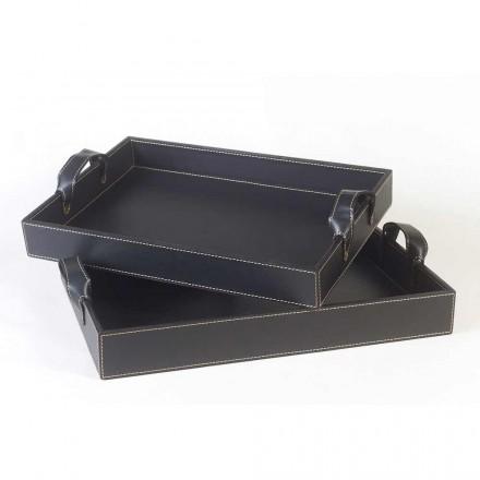 2 vassoi di design in cuoio nero 41x28x5cm e 45x32x6cm Anastasia