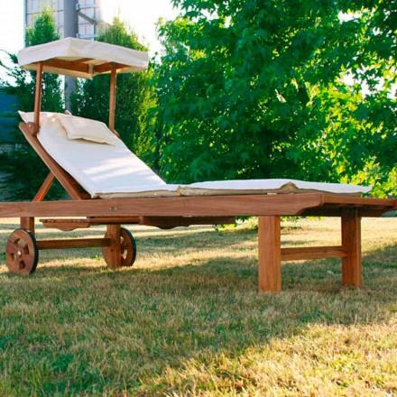 Lettino regolabile da giardino in legno di teak