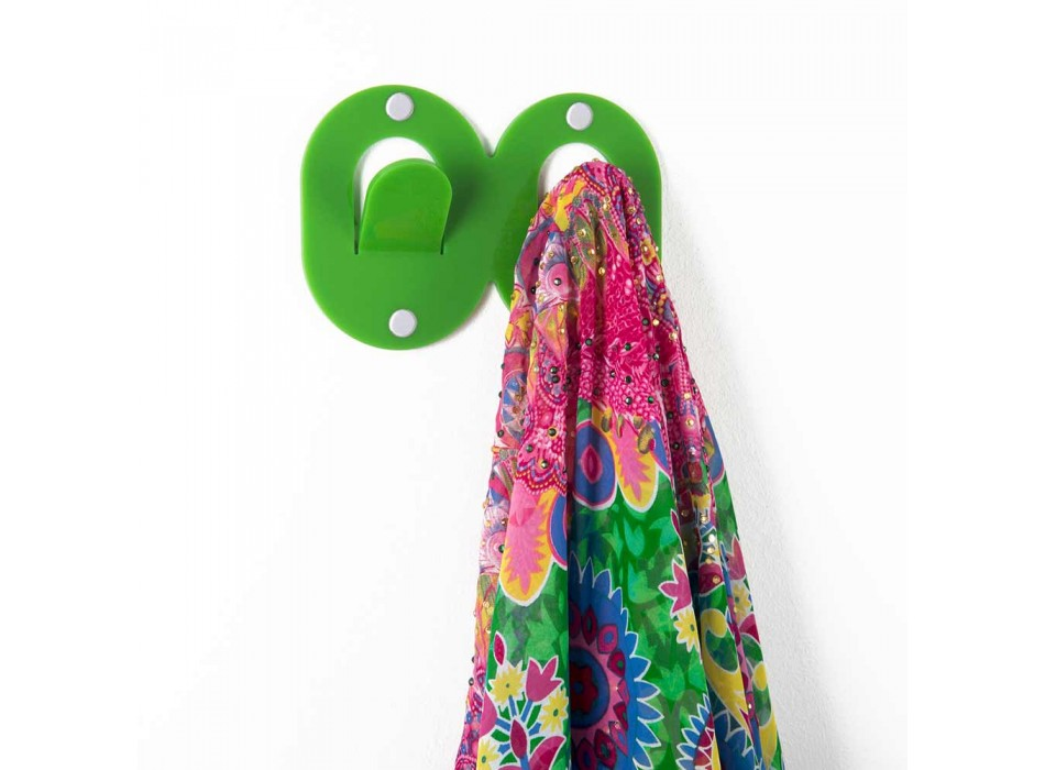 3 Appendini Muro in Plexiglass Colorato Design Doppio Italiano a Clip - Freddie