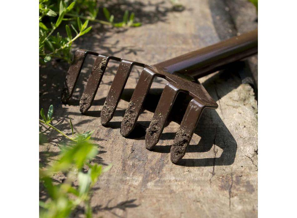 3 Attrezzi per Giardinaggio in Metallo con Base in Legno Made in Italy - Garden