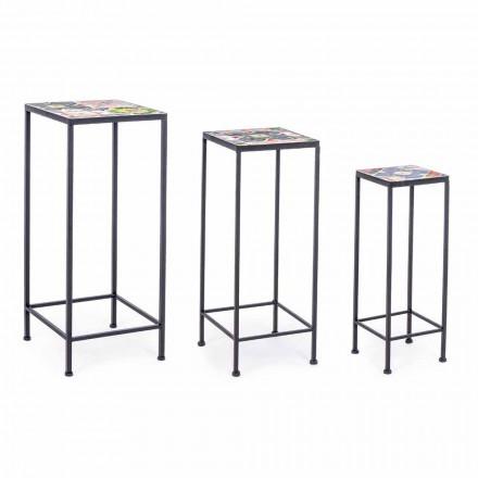 3 Tavolini da Giardino Quadrati di Design in Acciaio con Decori - Incantevole