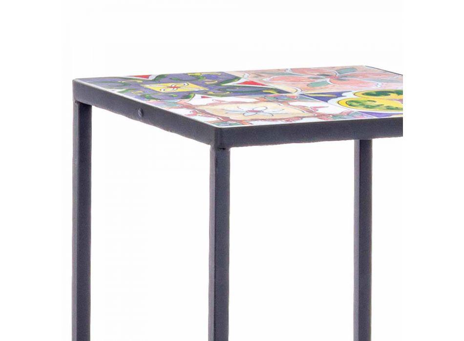 3 Tavolini da Giardino Design Quadrato in Acciaio con Decori - Incantevole