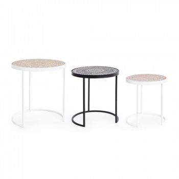 3 Tavolini da Salotto in Mdf con Decorazioni Intarsiate Homemotion - Mariam