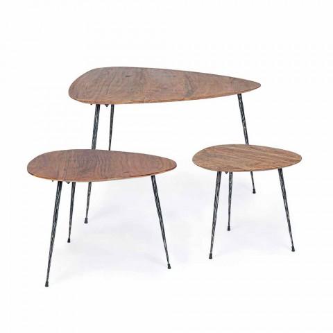 3 Tavolini da Salotto Moderni con Piano in Legno di Mango Homemotion - Kalidi