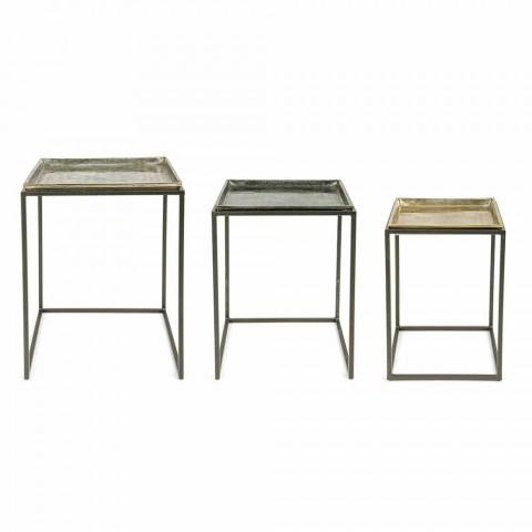 3 Tavolini da Salotto Quadrati in Alluminio e Acciaio Homemotion - Quinzio