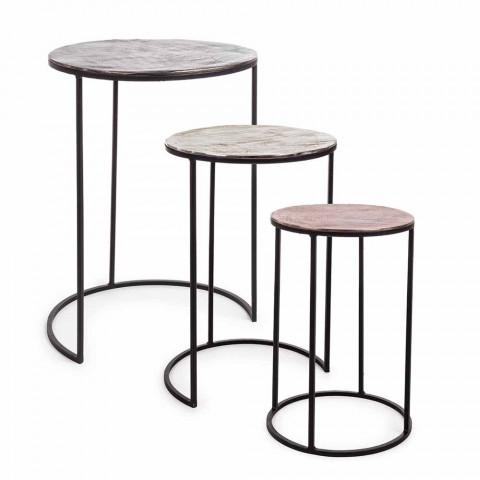 3 Tavolini da Salotto Rotondi in Alluminio e Acciaio Homemotion - Sempronio
