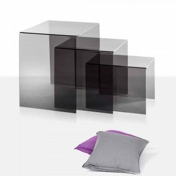 3 tavolini sovrapponibili fumé Amalia, design moderno, made in Italy