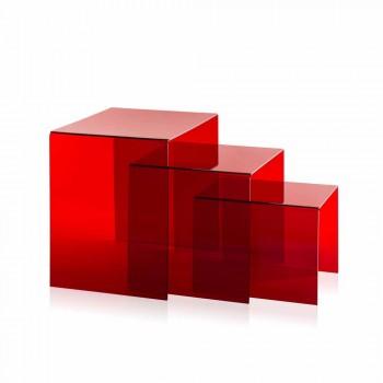 3 tavolini sovrapponibili rossi Amalia, design moderno, made in Italy