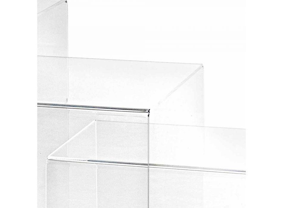 3 tavolini sovrapponibili trasparenti di design Amalia, made in Italy