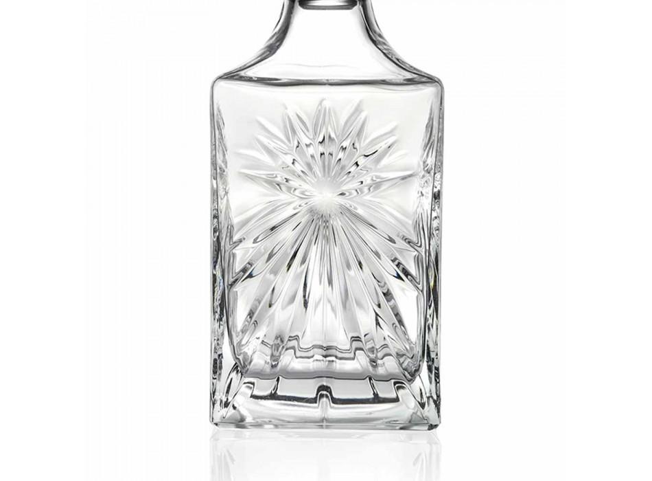 4 Bottiglie da Whisky con Tappo in Eco Cristallo Design Squadrato - Daniele