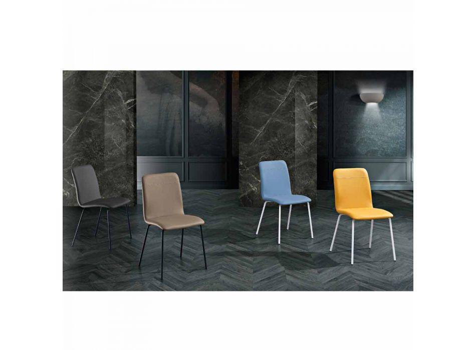 4 Sedie da Cucina o Soggiorno in Ecopelle Colorata e Metallo Design - Hermione