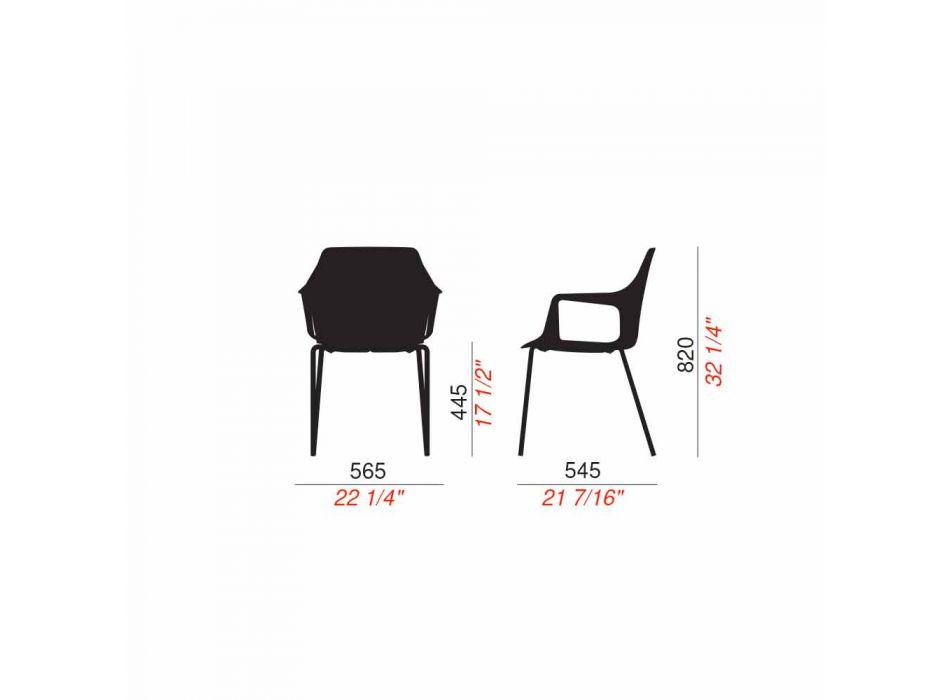 4 Sedie da Esterno Impilabili in Polipropilene e Metallo Made in Italy - Carlene
