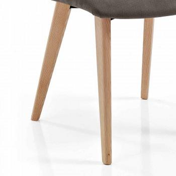 4 Sedie da Soggiorno Rivestite in Tessuto e Gambe in Frassino Design - Florinda