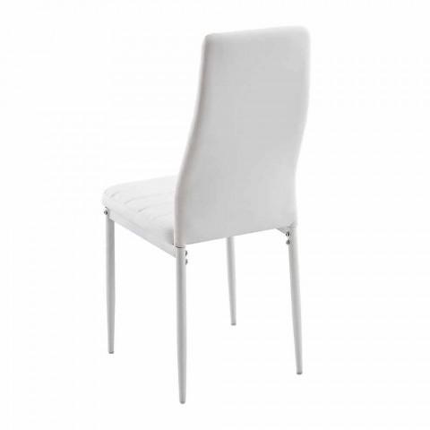 4 Sedie Moderne per Sala da Pranzo in Similpelle e Gambe in Metallo - Spiga